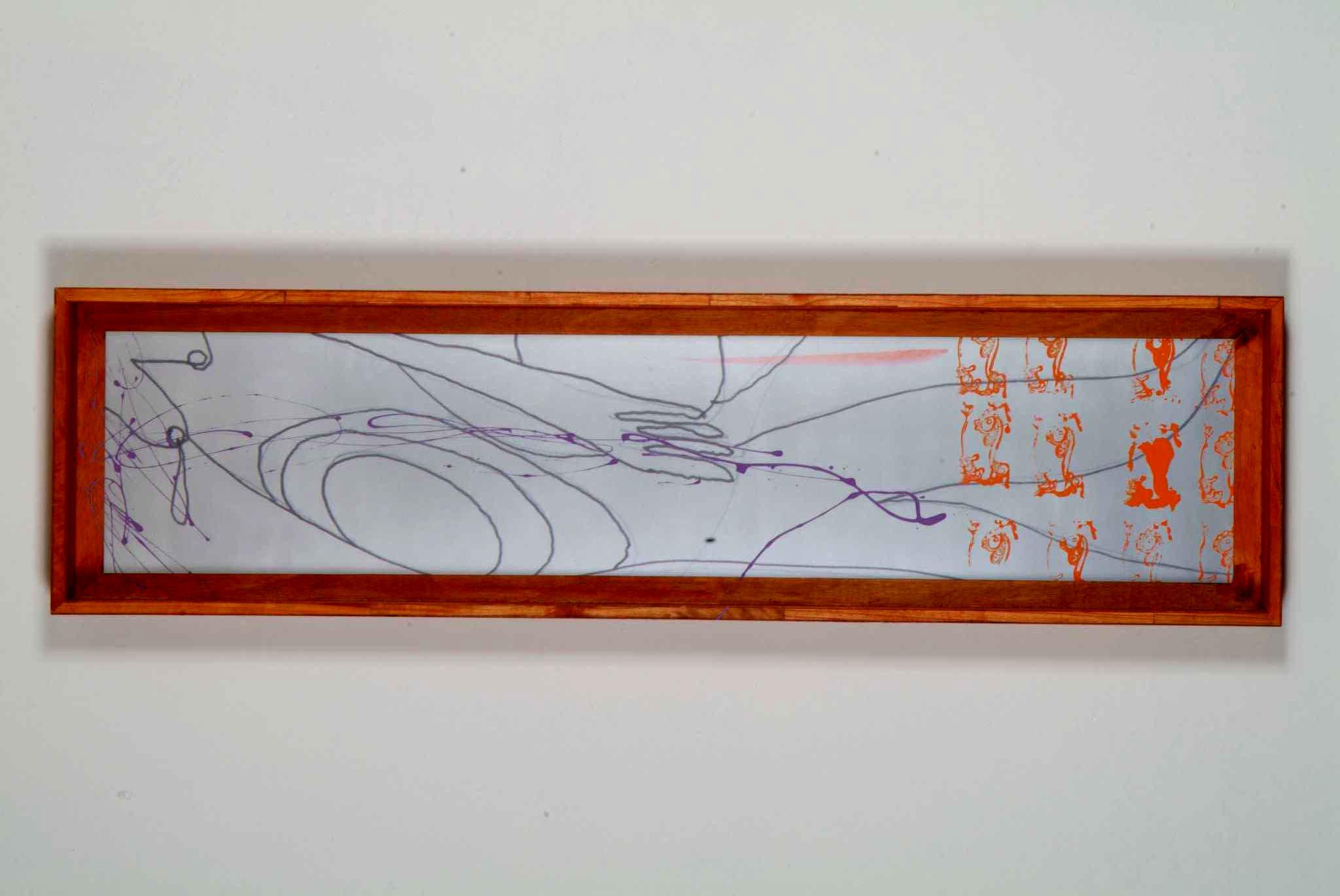 Segreto di segno/stampa su plexiglas, legno, pigmento argentato, acquarello;