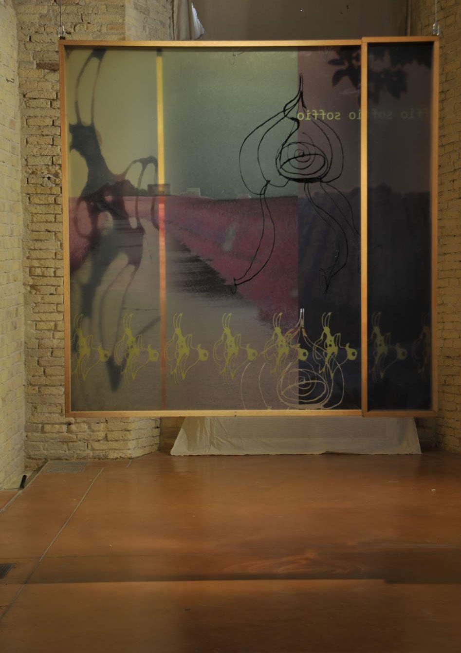 Architettura sentimentale/ 2014Scultura :plexiglas serigrafia,luce, legno;